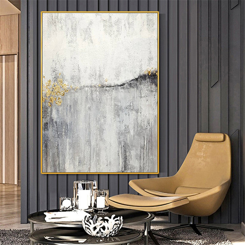 Hand Painted Modern Large Size Abstract Oil Painting Contemporary Modern Black White Gold Wall Art For Office Living Room Home Decor