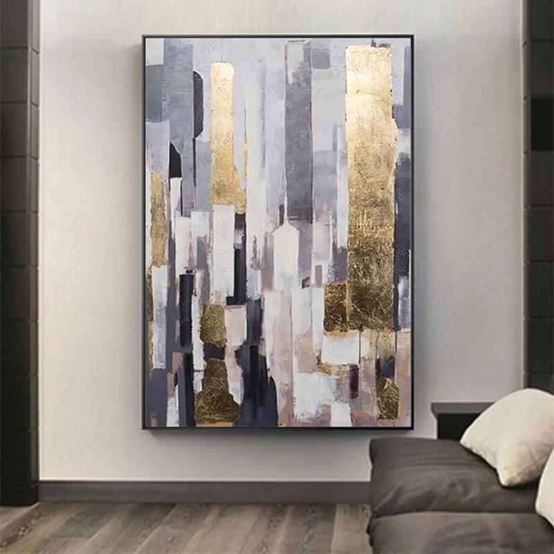 Hand Painted Golden Wall Art Large Abstract Painting Contemporary Oil Painting Large Sizes For Modern Living Room Home Decor