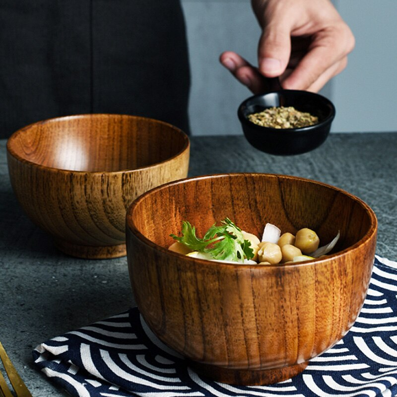 Handmade Japanese Wooden Rice Bowl Dining Table Solid Wood Kitchenware Salad Serving Bowl Wooden Tableware 3 Sizes