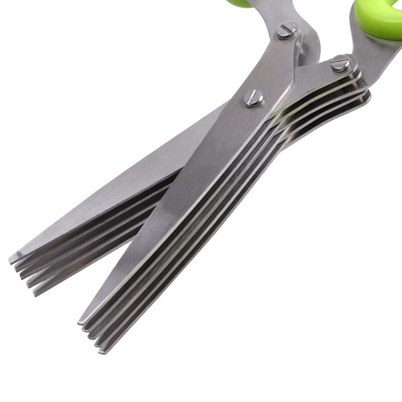 Handy Multi-blade Stainless Steel Onion Shredder Scissors For Slicing Herbs Spring Onions Scallions 5 Blade Onion Cutters Convenient Kitchen Gadgets