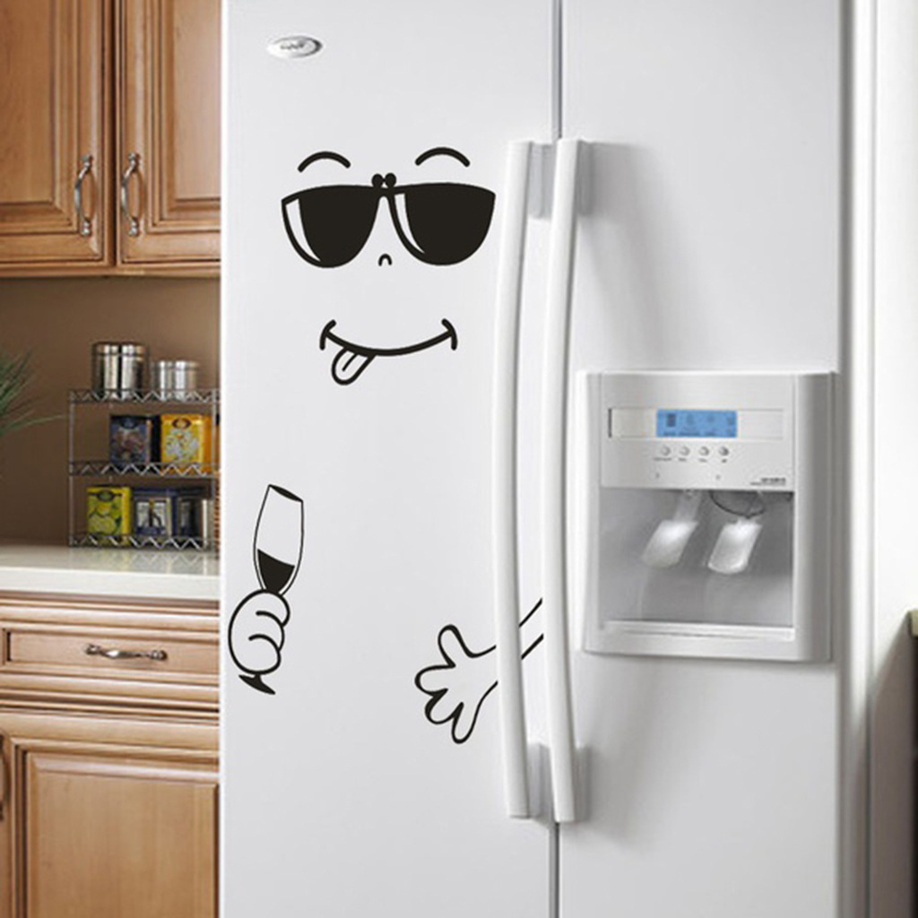 Happy Yummy Fridge Stickers Removable DIY PVC Decals Delicious Smiley Face Wall Sticker For Fridge Kitchen Furniture Art Decor