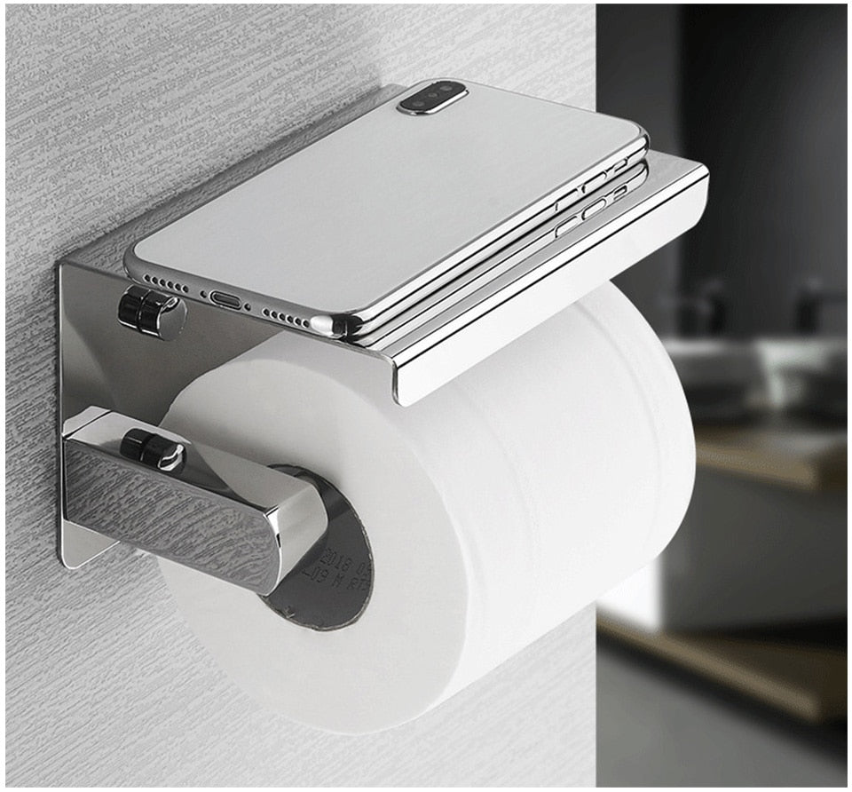 High Gloss Stainless Steel Toilet Roll Holder With Handy Phone Shelf Luxury Premium Accessories And Fittings Modern Washroom Bathroom Silver Loo Roll Holder