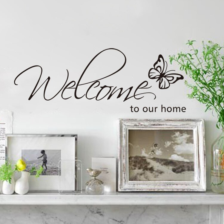 Homely Welcome Sign Wall Mural Decal Removable PVC Wall Sticker For Home Entrance Hallway Wall Decoration