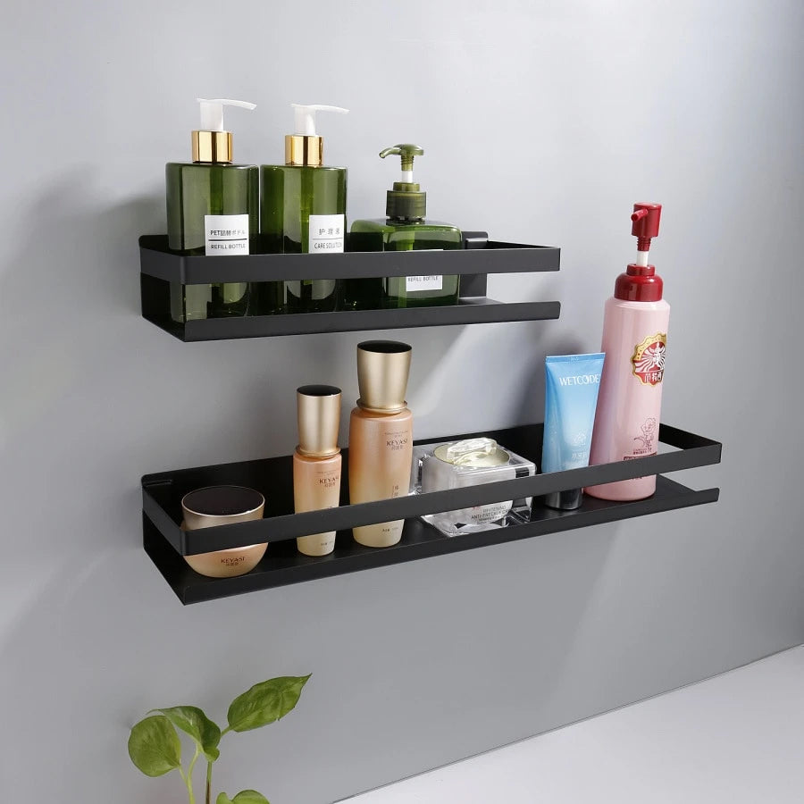 Industrial Design Stainless Steel Kitchen Shelf Racking For Storing Pots Jars Tea Coffee Spices etc Modern Aesthetics In Matt Black Or Brushed Silver 4 Sizes