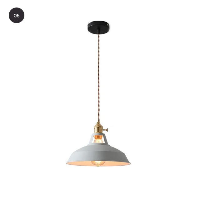 Industrial Style Pendant Hanging Lamps Colorful Vintage Lighting For Kitchen Cafe Diner Restaurant Metal Lampshade Retro Decorative Home Lighting