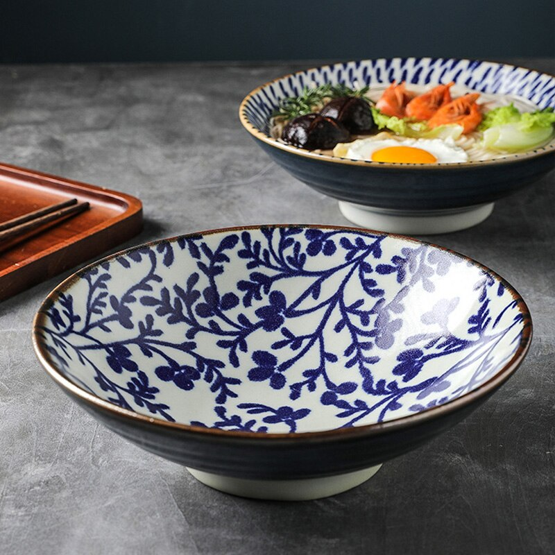 Japanese Style 9.5 Inch Porcelain Rice Bowl Large Ceramic Noodle Bowl Rice Soup Salad Fruit Ramen Bowl For Restaurant Or Home Tableware