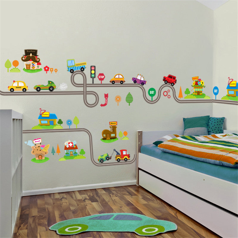 Kids Cars Super Highway Wall Art Decals Bedroom Wall Cartoon Car Racetrack Road Map Stickers For Boys Rooms Bedroom Decor