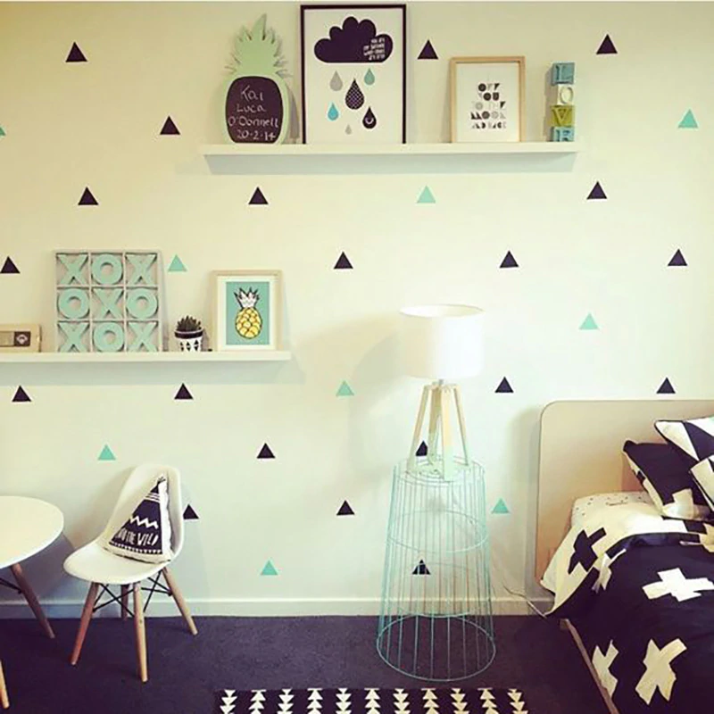 Little Triangles Decorative Wall Stickers For Nursery Room Decoration Colored Removable Vinyl Wall Decals Kids Room Modern Home Decor