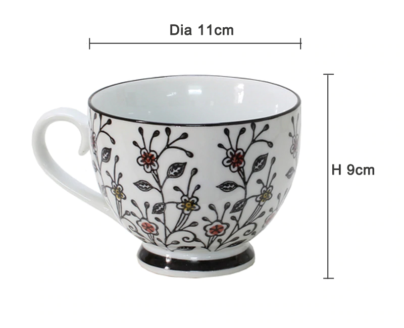 Lovely Hand Painted Floral Ceramic Breakfast Tea Coffee Mug Large Tea Cup Porcelain Coffee Cup