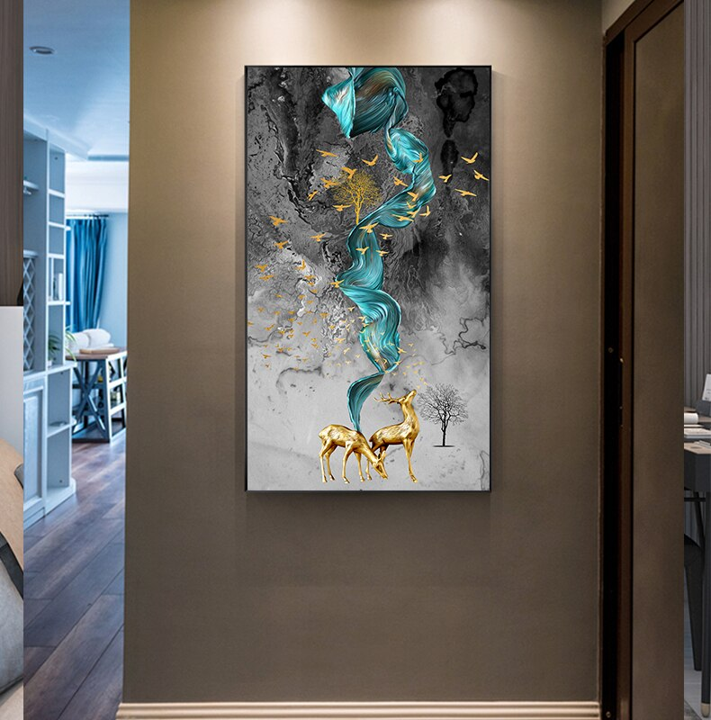 Lucky Golden Deer Abstract Nordic Contemporary Wall Art Paintings Fine Art Canvas Giclee Prints Luxury Pictures For Modern Home Office Decor