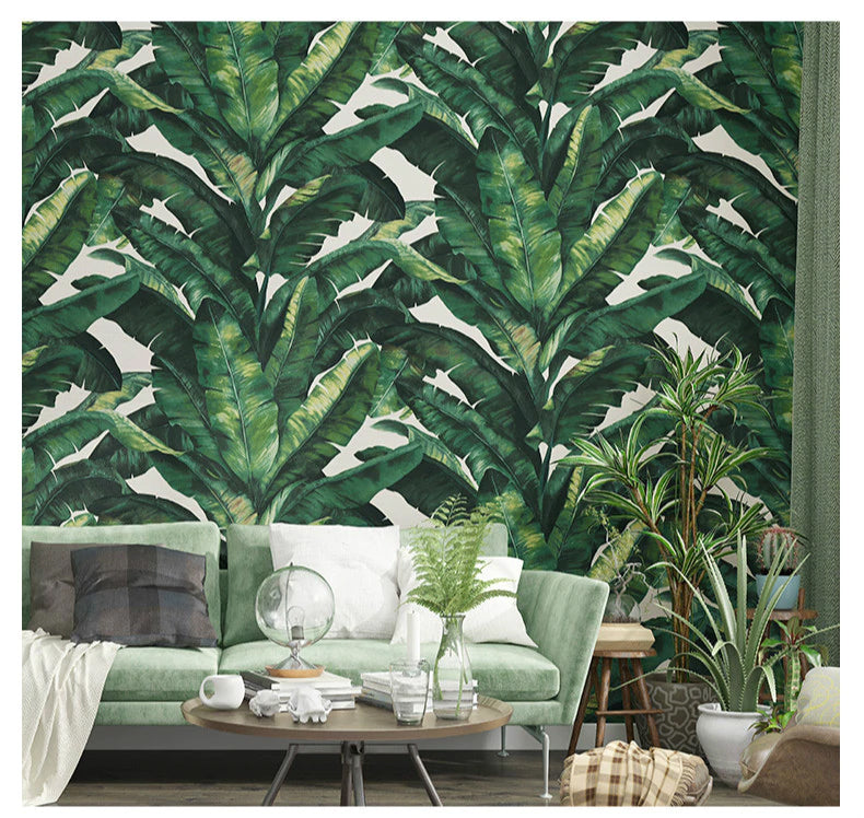 Lush Tropical Leaves Thick Embossed Stylish Nordic Wallpaper Banana Leaf Wall Covering Luxury Wallpaper For Living Room Office Bedroom Wall Decor 5 Colors