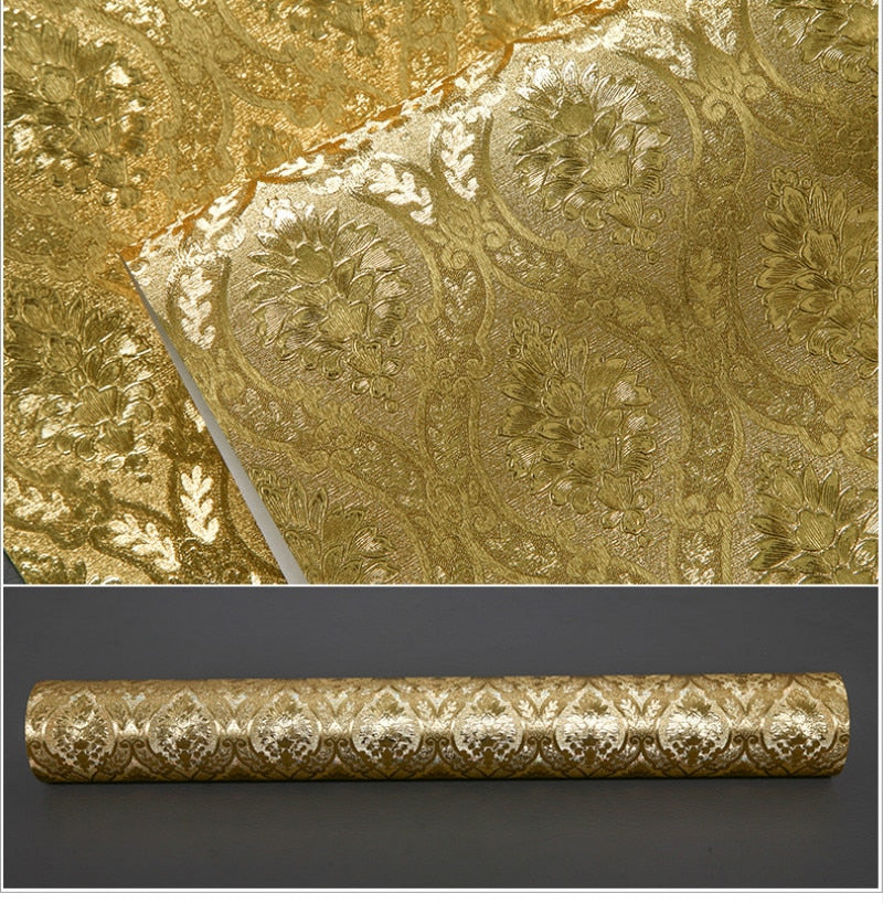 Luxurious Gold Damask Wallpaper Embossed Metallic Patterned Premium Wall Covering For Boutique Home Shop Salon Wall Covering For Glam Home Decor