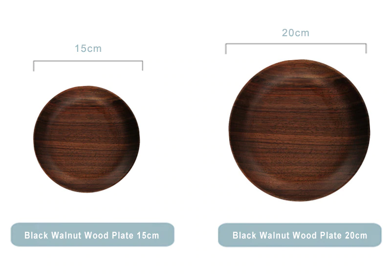 Luxury Black Walnut Solid Wood Plates Premium Natural Wood Tableware For Kitchen Dining Room Dinnerware Wooden Serving Plates 15cm 20cm