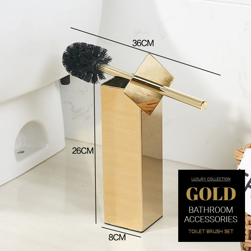 Luxury Brushed Gold Toilet Brush Set Stainless Steel Toilet Bowl Cleaner Brush And Holder Set Brushed Gold Luxury Bathroom Accessories