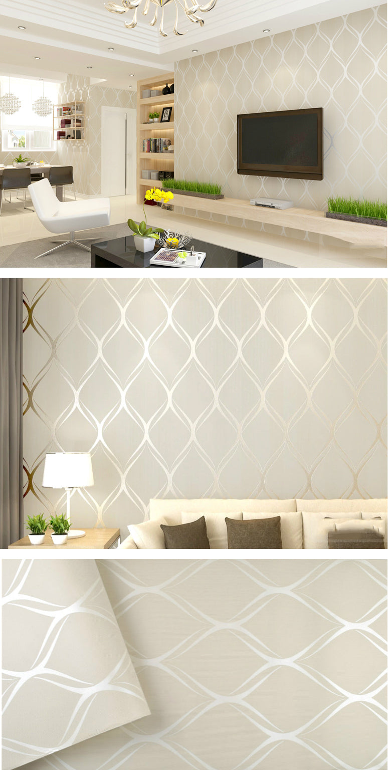 Luxury Elegance Modern Wallpaper In White Grey Beige Contemporary Designer Home Decor Wall Covering For Bedroom Living Room Stylish Home Interiors