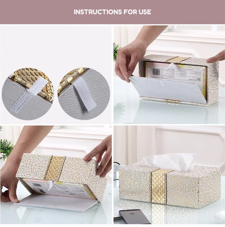 Luxury Elegant PU Leather Tissue Box For Home Decoration Desktop Bedside Table Living Room Fashionable Case For Removable Tissue Boxes Glamorous Home Interior Decor
