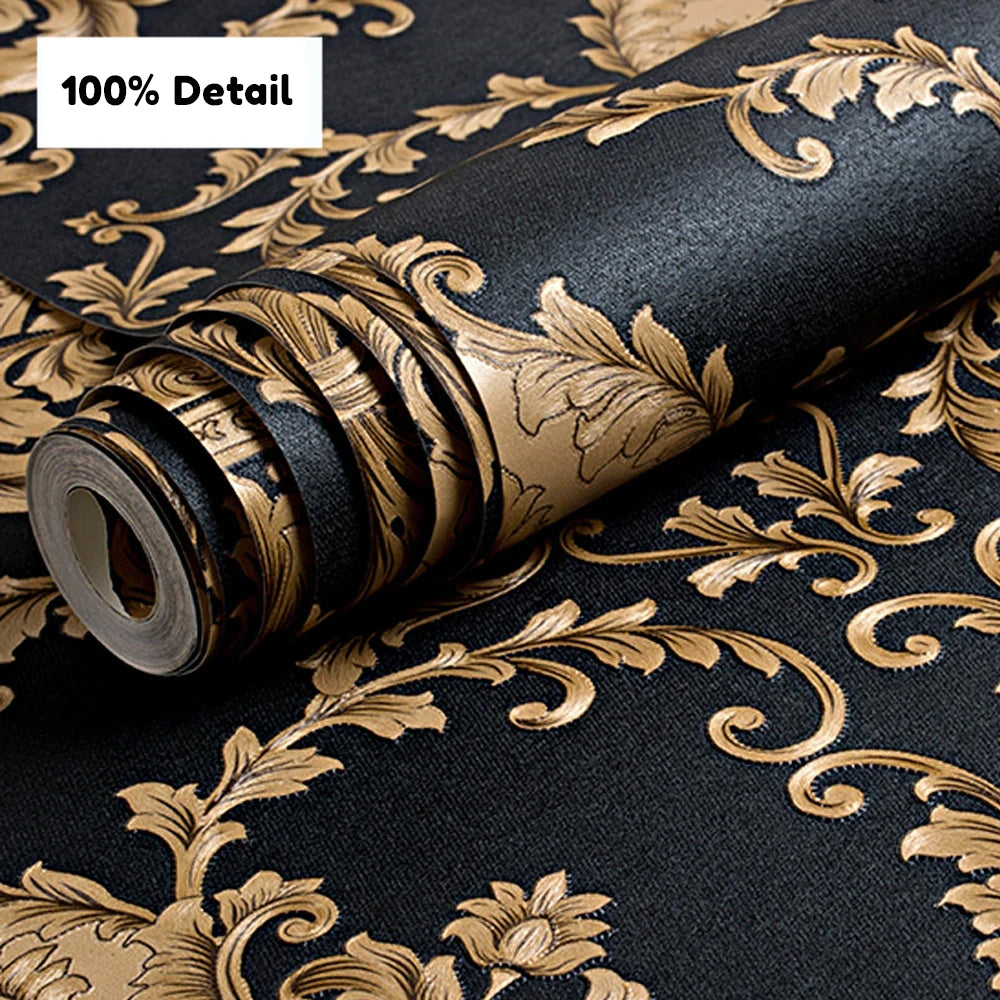 Luxury Embossed Black & Gold Damask Wallpaper Patterned Texture 3D Metallic Vinyl Wall Covering Opulent Retro Vintage Style Home Decoration