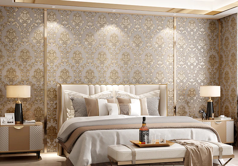 Classic Gold Damask Wallpaper Textured Embossed Vinyl Wall Covering For Bedroom Living Room Luxury Home Decor Wall Paper Beige-Grey Background With Gold Motif