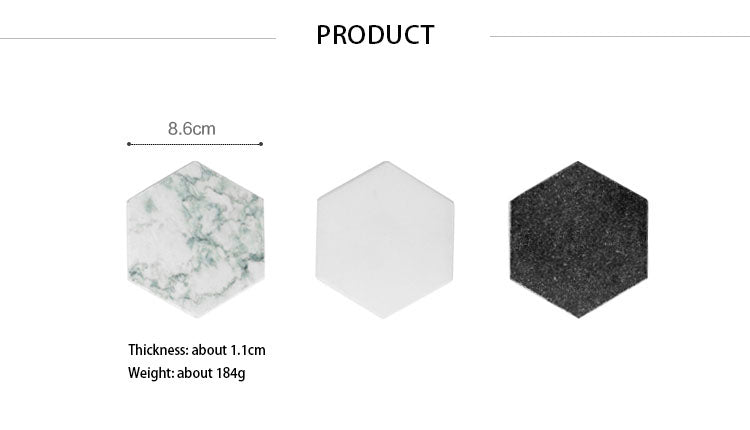 Luxury Nordic Style Hexagonal Marble Coaster For Coffee Tea Wine etc Marble Grain Ceramic With Non Slip Mats For Scandinavian Style Kitchen Tables & Worktops
