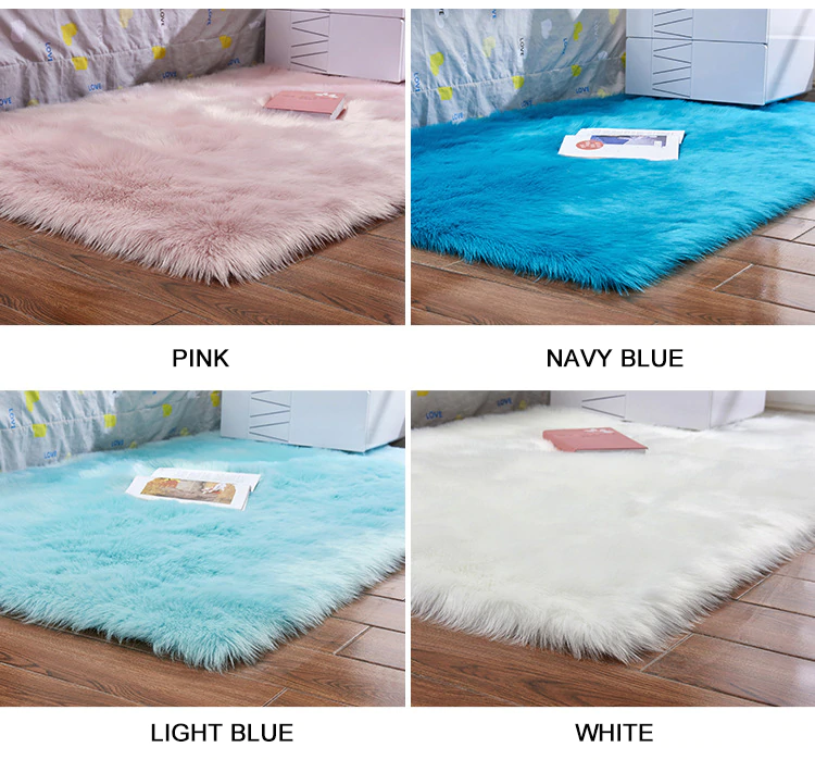 Luxury Plush Faux Fur Rugs For Bedroom Artificial Wool Soft Fluffy White Fur Rug For Living Room Bedroom Couch Area Floor Rugs