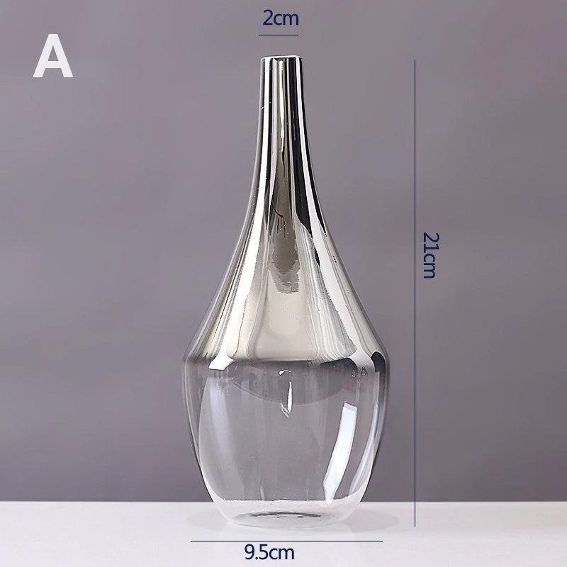 Luxury Silver Gradient Glass Vase Desktop Terrarium For Flowers Vases For Dried Flower Display Cute Tabletop Decoration For Living Room Office Cafe Etc