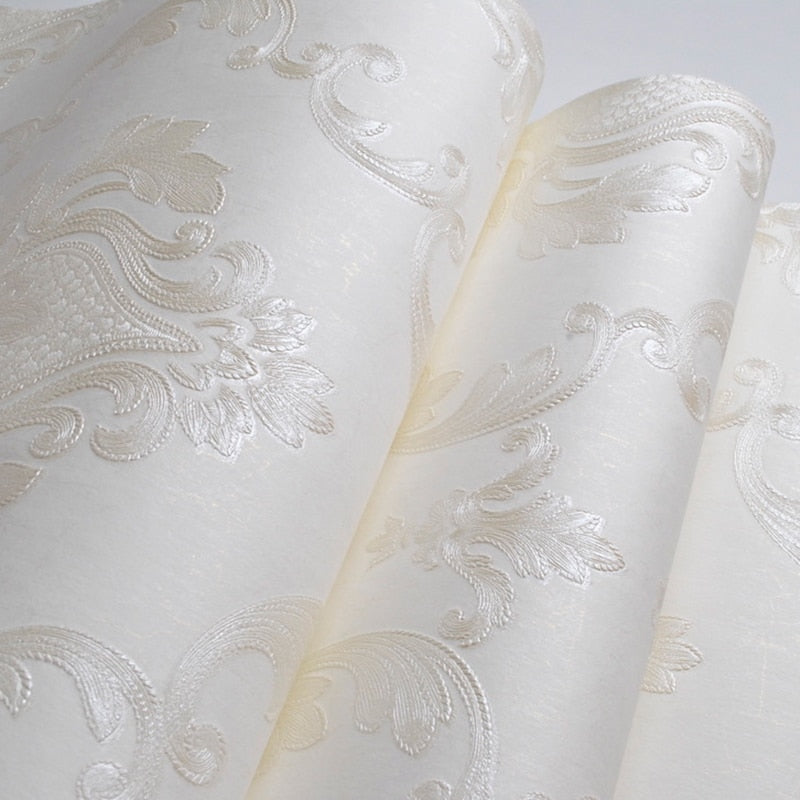 Luxury White Damask Wall Paper Simple Classical Elegant Floral Design Embossed Wallpaper For Living Room Bedroom Boutique Or Salon Home Interior Decor