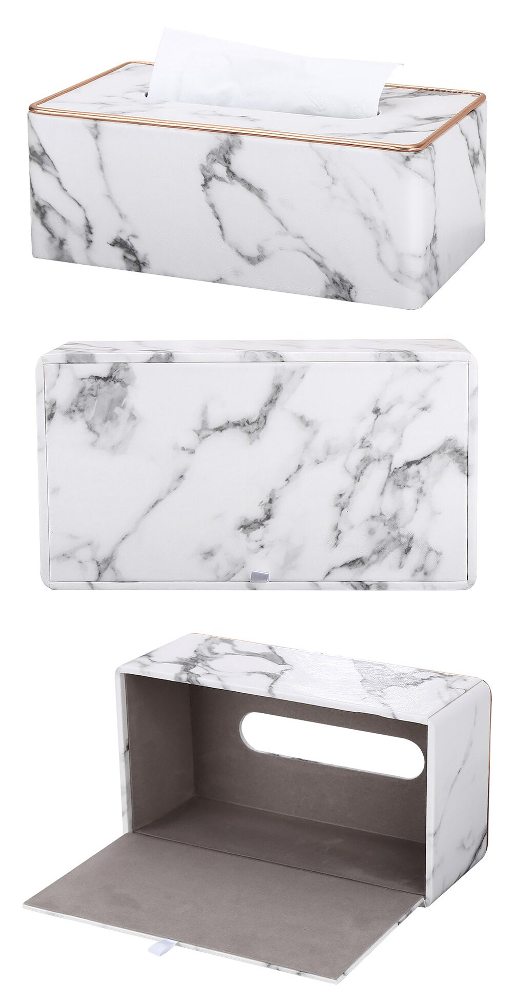 Marble Grain Desktop Tissue Box Nordic Style Washroom Towel Dispenser Tissue Box For Office Home Kitchen Living Room PU Leather With Golden Metal Rim