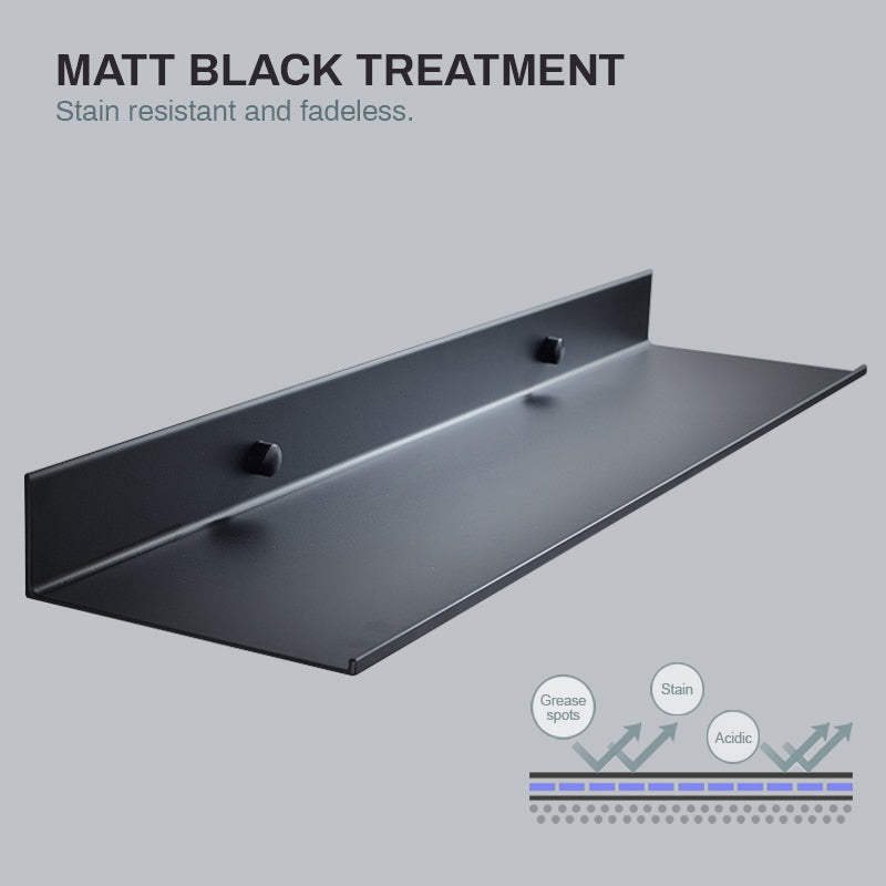 Matt Black Aluminium Shelf Bathroom Storage Rack For Kitchen Washroom Modern Minimalist Designer Bathroom Fitting Single Tier Shelf