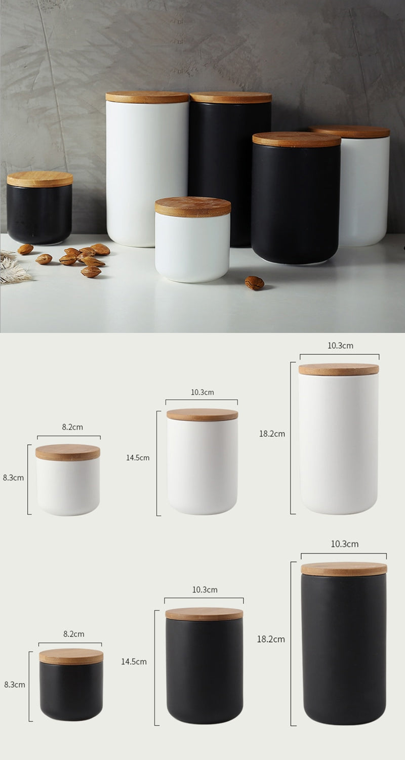 Matt Black Porcelain Storage Pots With Wooden Lids Ceramic Containers With Sealed Wood Cap Black White 3 Sizes For Coffee Tea Rice Pasta etc