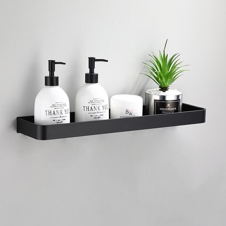 Matt Black Space Aluminum Storage Rack Bathroom Shelf For Cosmetics With Optional Towel Rail And Hooks Electroplated Alloy Shelves For Modern Bathroom Washroom Fittings
