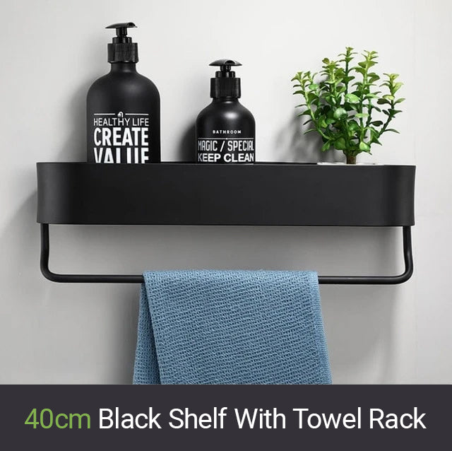 Matt Black Storage Rack For Bathroom Or Kitchen Or Bathroom Strong Modern Design Rigid Lightweight Space Aluminum With Optional Towel Rail
