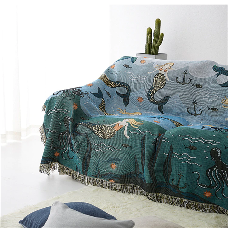 Mermaid In The Sea Knitted Sofa Throw Nordic Style Blanket For Sofa Bed Blanket For Living Room Travel Blanket Modern Home Textiles
