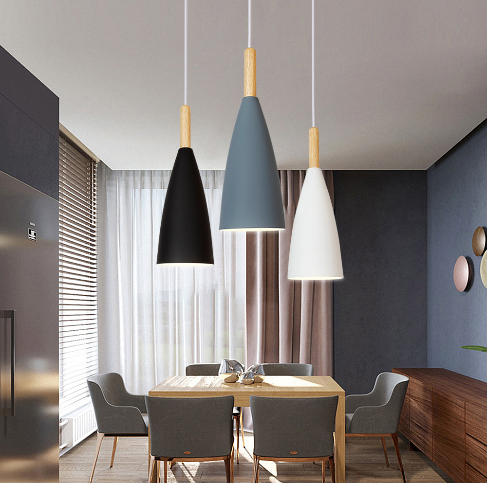 Minimalist Modern Pendant Lamp Aluminium And Wood Nordic Design Hanging Lamp For Kitchen Cafe Diner Bar Style Lighting in Gray White Green or Black