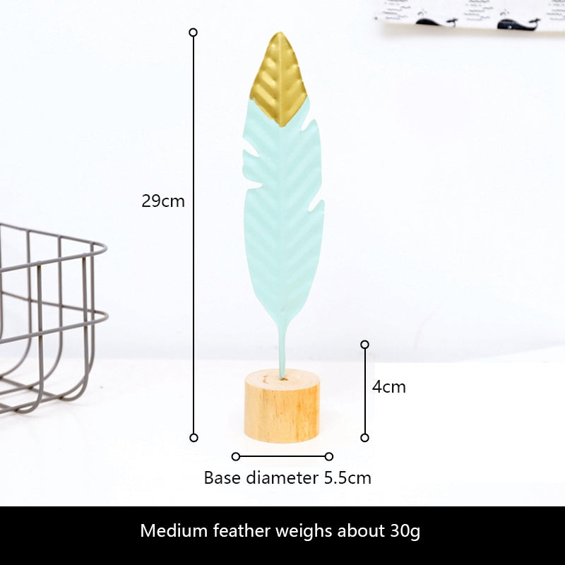 Mint Green Golden Tip Feather Fashionable Nordic Style Home Decor Creative Metal Ornaments For Bedroom Dressing Table Living Room Stylish Mantelpiece Dressing