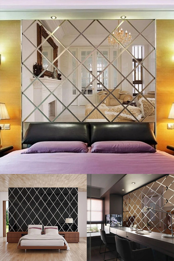 Mirrored Rhombus Acrylic Wall Stickers Removable Sticky-Back Wall Decals Creative DIY Artistic Home Interior Decoration For Bedroom Living Room Decor