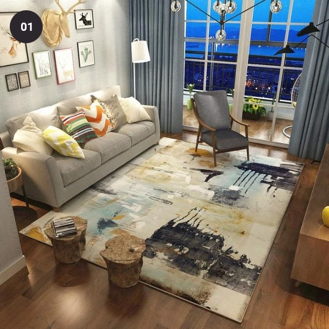 Modern Abstract Designer Area Rugs For Living Room Dining Room Bedroom Carpet Mats For Kids Room Colorful Geometric Design Rugs 6 Styles 5 Sizes