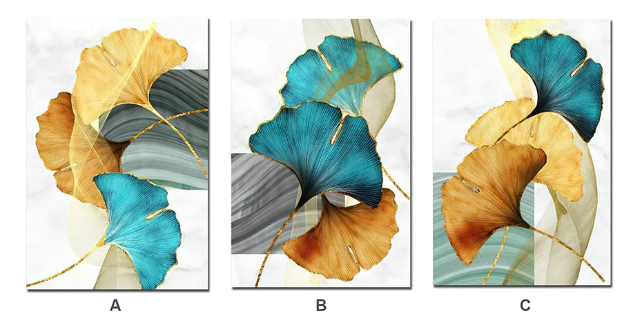 Modern Abstract Golden Blue Aqua Floral Wall Art Fine Art Canvas Prints Luxury Contemporary Botanic Pictures For Modern Living Room Dining Room Home Decor