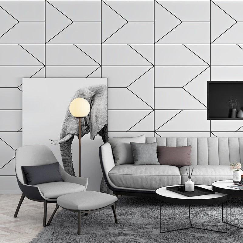 Modern Black White Geometric Design Wallpaper For Home Office Wall Decor Stylish Wall Covering For Living Room Behind TV Trending Home Interior Decor