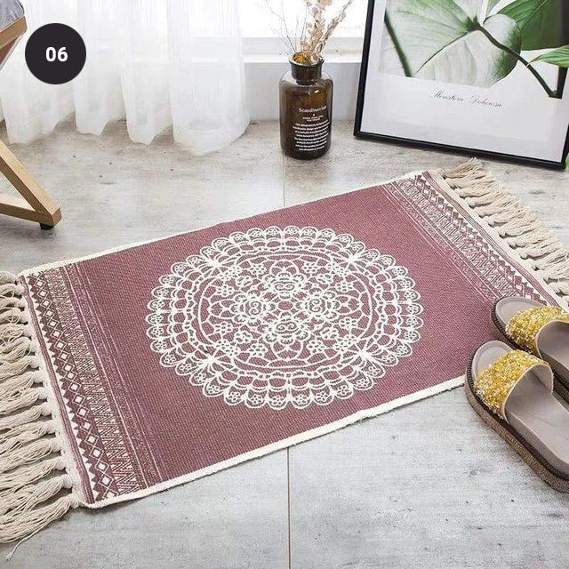 Modern Bohemian Carpet Rugs For Bedroom Living Room Area Mats Hand Woven Cotton Linen Tassel Floor Mat Bedside Rug Geometric Carpet Rectangular 60x90cm