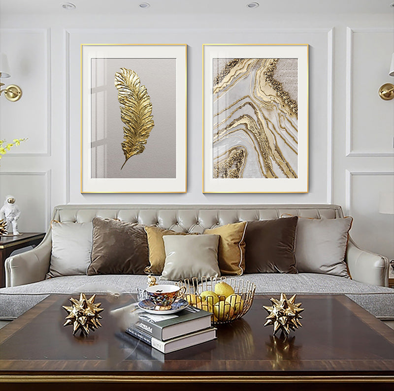 Modern Chic Nordic Golden Abstract Wall Art Mix And Match Fine Art Canvas Prints Pictures For Luxury Living Room Bedroom Dining Room Glam Home Art Decor
