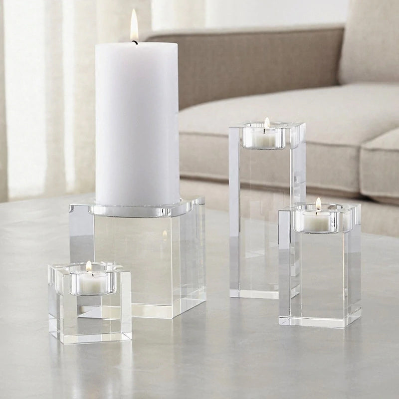 Modern Chunky Crystal Candle Holders Tealight Religious Contemporary Candlestick Reiki Spa Candle Stands Modern Home Decor