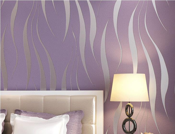 Modern Embossed 3D Abstract Curves Wallpaper For Living Room Bedroom Contemporary Home Decor Wavy Stripes Wallpaper in Grey Beige White & Purple