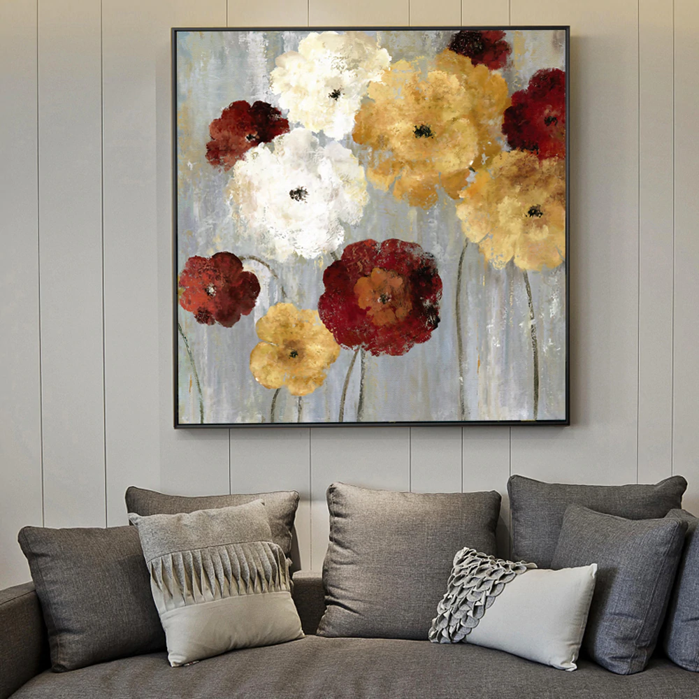 Modern Floral Abstract Wall Art Red & White & Golden Flowers Fine Art Canvas Giclee Prints Paintings For Living Room Wall Decoration