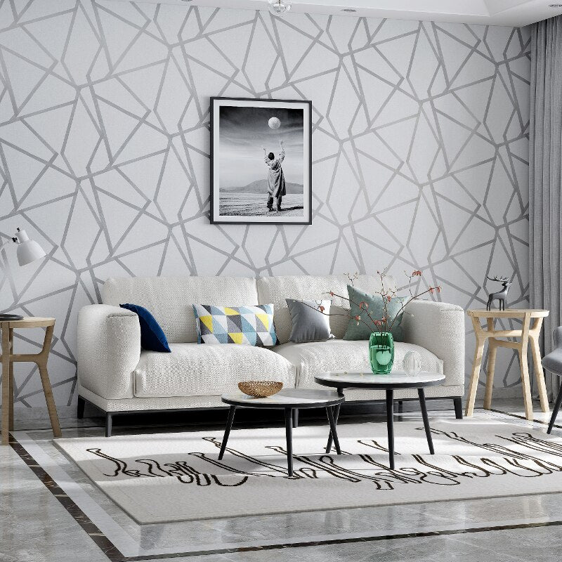 Modern Geometric Patterned Gray Wall Paper Abstract Design Wall Covering For Living Room Bedroom Study Home Office Boutique Or Salon Wall Decor Trending Interior Design