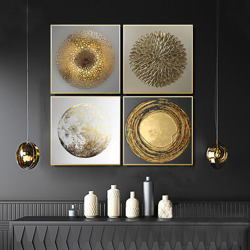 Modern Golden Abstract Elements Designer Wall Art Fine Art Canvas Prints Luxury Pictures For Loft Apartment Living Room Home Office Contemporary Art Decor