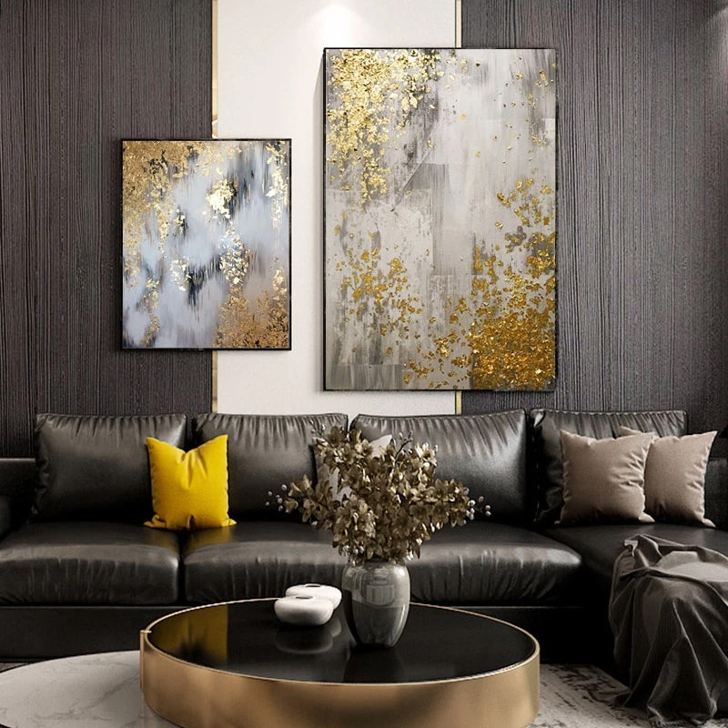 Modern Golden Chic Abstract Nordic Wall Art Fine Art Canvas Prints Pictures For Living Room Bedroom Dining Room Luxury Minimalist Glam Home Wall Art Decor
