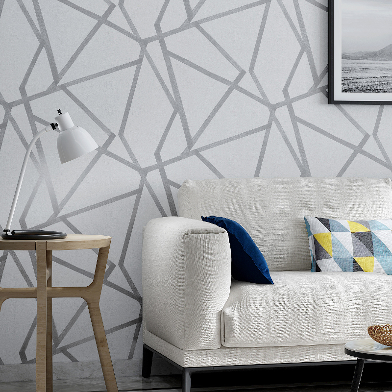 Modern Grey Geometric Wallpaper Contemporary Abstract Design Gray And White Patterned Design Wall Covering For Home Office Shop Wall Decor