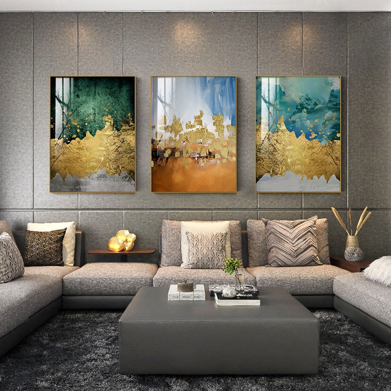 Modern Lifestyles Abstract Wall Art Golden Colors Contemporary Design Fine Art Canvas Prints Luxury Paintings For Stylish Home Office Hotel Interiors