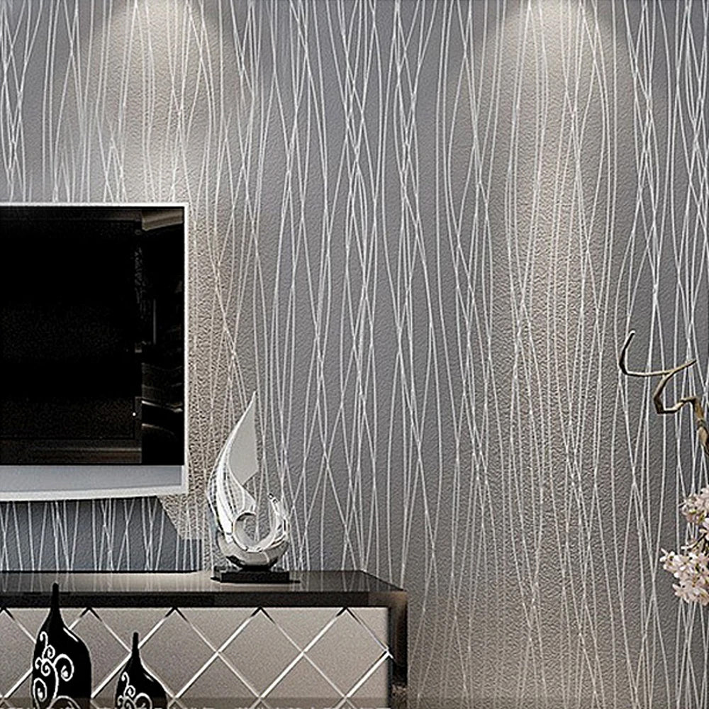 Modern Luxury Silver Striped Grey Wallpaper Textured Embossed Metallic Striped On Plain Grey Background Wall Covering For Office Salon Shop Boutique Home Decor