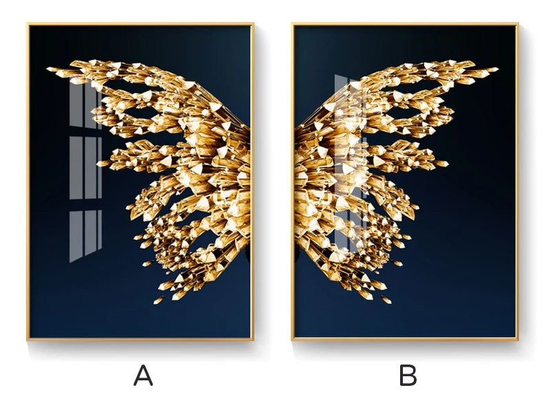 Golden Butterfly Wings Wall Art Fine Art Canvas Prints Glamorous Pictures For Luxury Loft Apartment Living Room Bedroom Dining Room Wall Art Decor